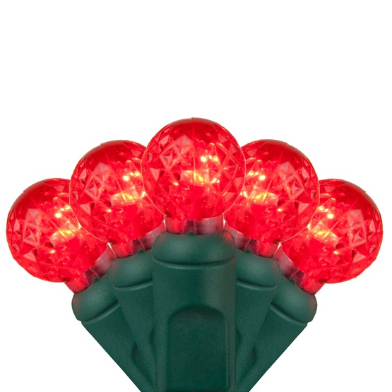 "70 G12 Red LED String Lights, 4"" Spacing"