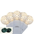 """Commercial 25 G12 Warm White LED String Lights, 4"""" Spacing, White Wire"""
