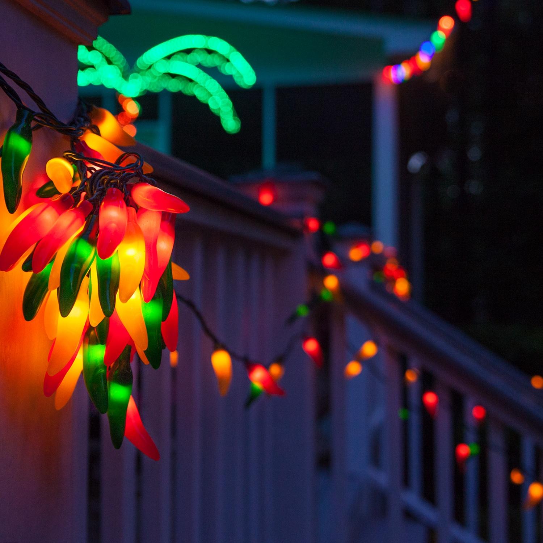 Novelty Lights - Chili Pepper Cluster Light Set, 35 Multicolored ...