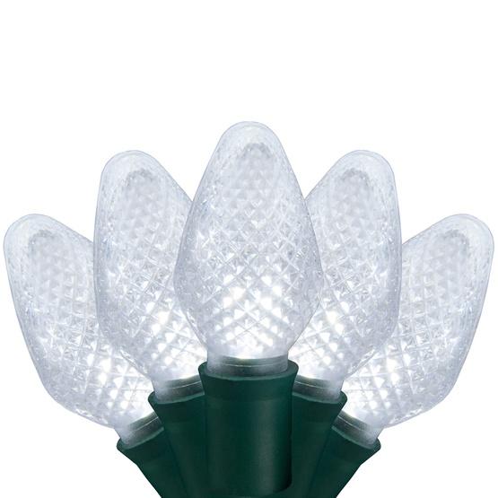 """25 C7 Cool White LED Christmas Lights, 8"""" Spacing"""