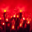 "50 T5 Red LED Christmas Tree Lights, 6"" Spacing"
