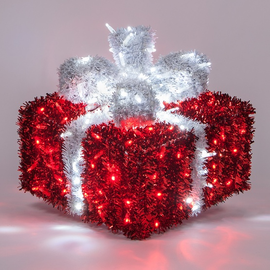 16 red and white led dimensional outdoor christmas gift box