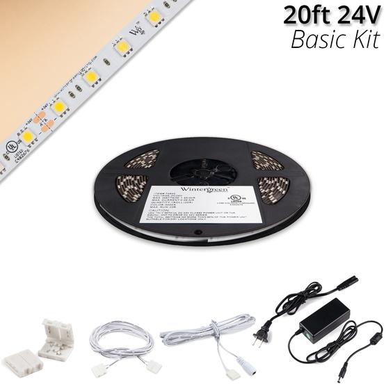 basic 24v high output led strip light kit champagne warm white