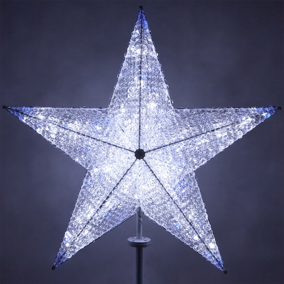 Christmas Decorations 48 Shimmering Cool White Blue Led Crystal 5 Point Star Tree Topper