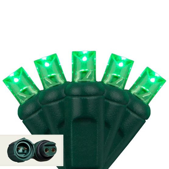 "Commercial 25 5mm Green LED Christmas Lights, 4"" Spacing"
