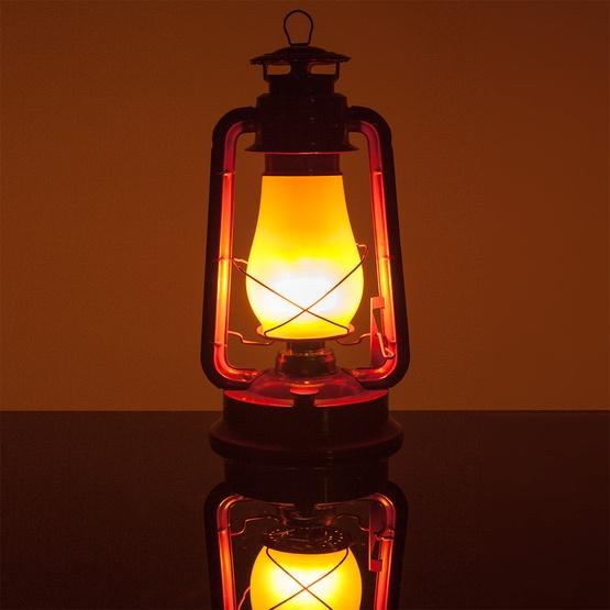 Red Metal Digital Flame Led Lantern With Transformer
