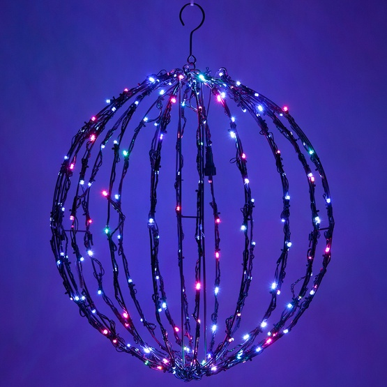 rgb led multi function christmas light ball fold flat black frame