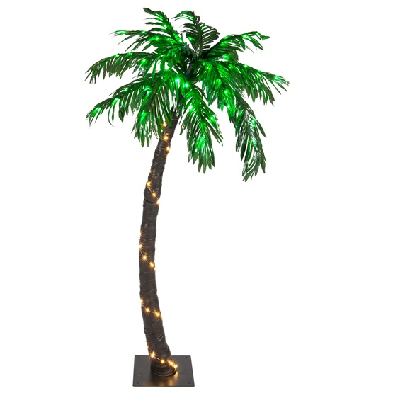Christmas Lights Palm Trees: 5' LED Curved Lighted Palm Tree