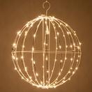 warm white led fairy christmas light ball fold flat white frame - Christmas Light Spheres