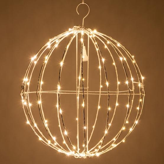 warm white led fairy christmas light ball fold flat white frame - Sphere Christmas Lights