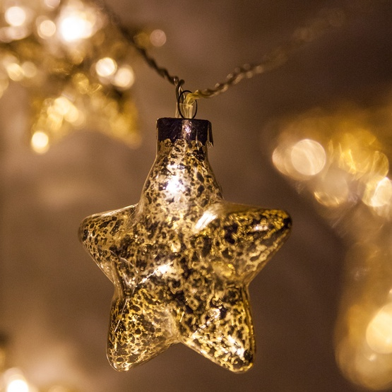 Novelty Lights - Battery Operated LED Iridescent Gold Glass Star String Lights, 10 Warm White Lights