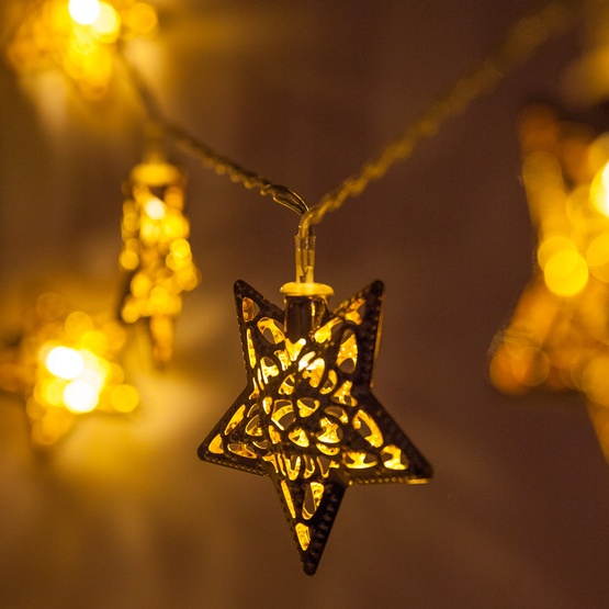 battery operated led golden metal star string lights 10 warm white lights