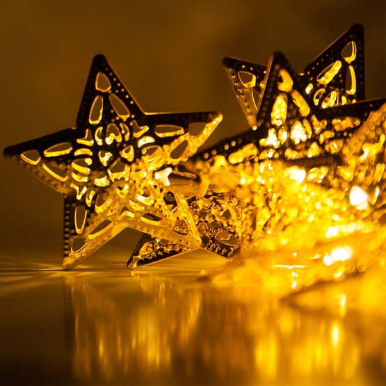 Battery Operated Led Golden Metal Star String Lights 10 Warm White