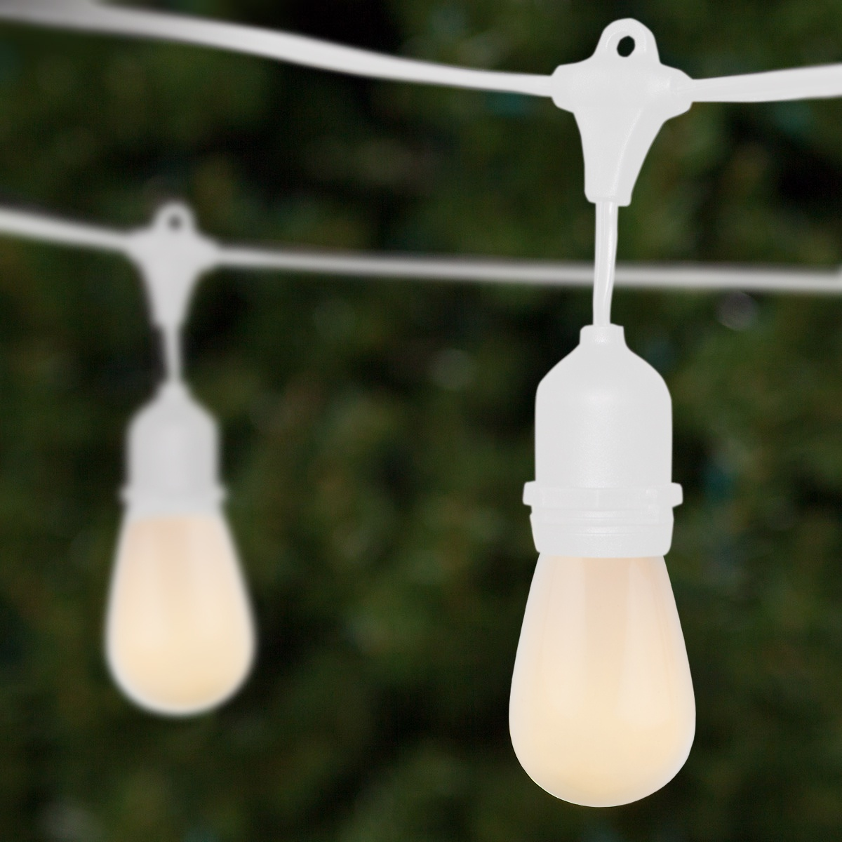 54u0027 Commercial Patio String With 24 Suspended S14 White Outdoor Patio Lights