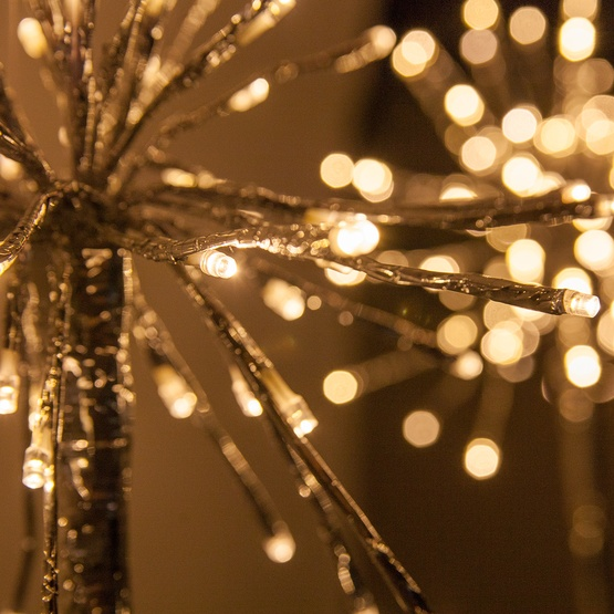 silver starburst lighted branches with warm white led lights 3 pc
