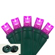"Commercial 25 5mm Pink LED Christmas Lights, 4"" Spacing"
