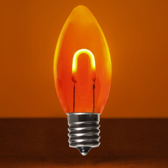c9 amber orange acrylic led filament vintage christmas light bulb transparent