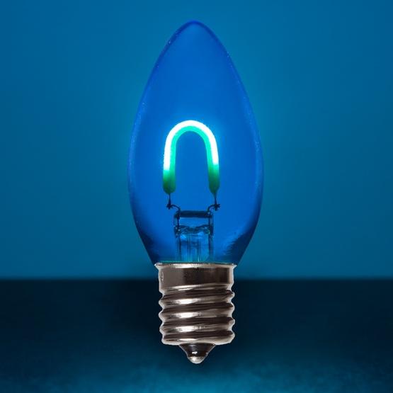 c9 blue glass led filament vintage christmas light bulb transparent