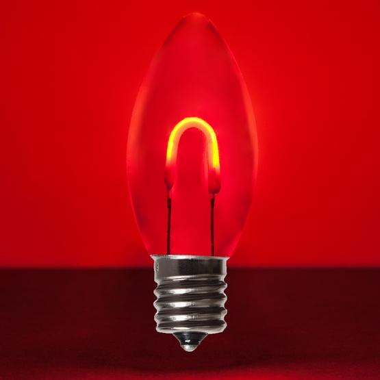 c9 red acrylic led filament vintage christmas light bulb transparent