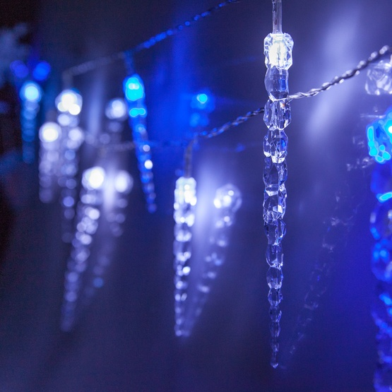 hot sales 32d82 8cedb Battery Operated Blue and Cool White Icicle String Lights, 10 LED Twinkle  Lights
