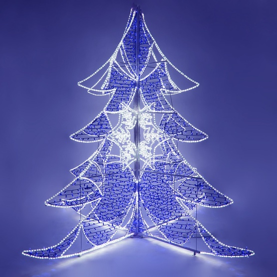 9 blue and white led ice crystal tree - Blue And White Outdoor Christmas Decorations