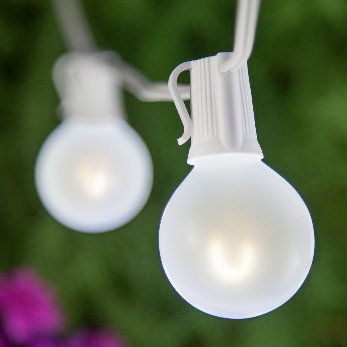 & Patio Lights - Cool White Satin LED Lights 50 G50 E12 Bulbs White Wire