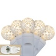 "Commercial 25 G12 Warm White LED String Lights, 4"" Spacing, White Wire"