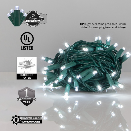 50 Cool White Outdoor LED Christmas Tree Lights, Mini 5MM