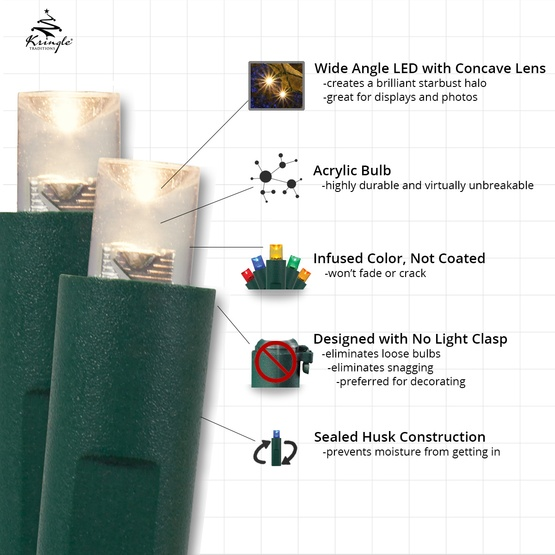 50 Cool White Outdoor LED Christmas Tree Lights, Mini 5MM