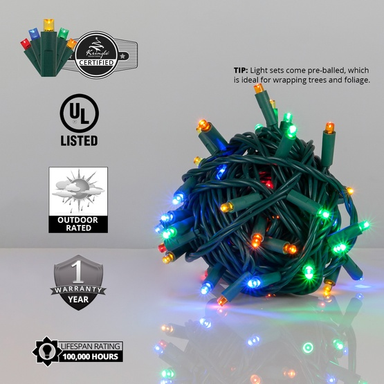 50 Multicolor Outdoor LED Christmas Tree Lights, Mini 5MM
