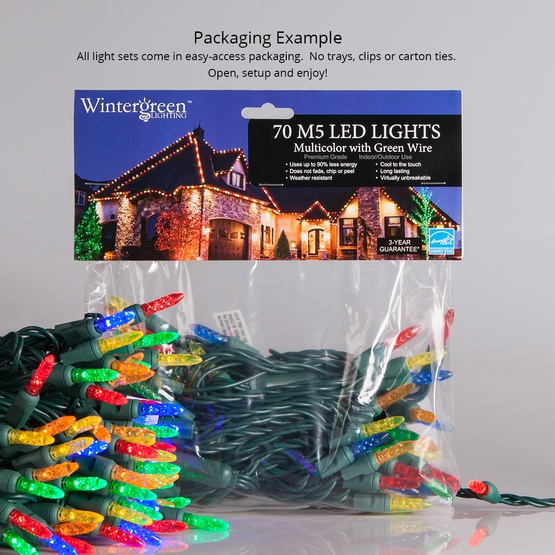 "70 M5 Warm White LED Christmas Lights, 4"" Spacing"