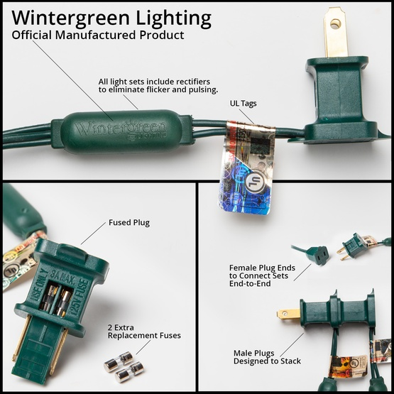 "70 M5 Blue LED Christmas Lights, 4"" Spacing"