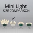 """70 M5 Warm White LED Christmas Lights, 4"""" Spacing, White Wire"""