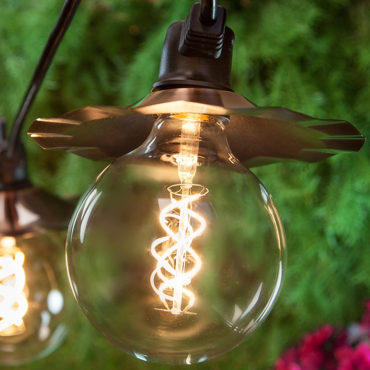 35u0027 Black Patio String Light Set With 7 G125 Warm White FlexFilament TM  Glass LED