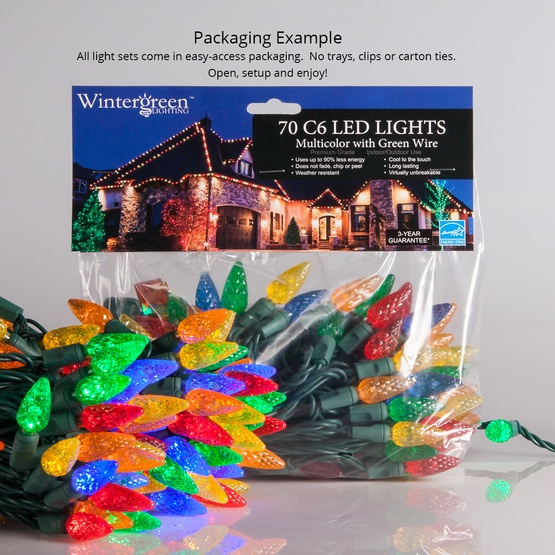 "70 C6 Purple LED String Lights, 4"" Spacing"