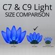 """25 C7 Blue LED Christmas Lights, 8"""" Spacing"""