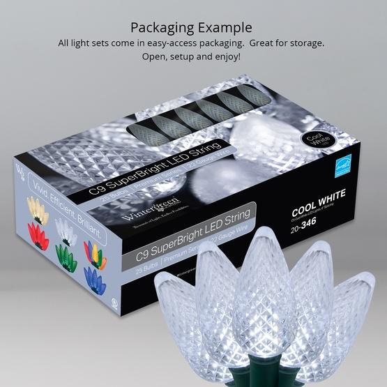 """25 C9 Cool White LED Christmas Lights, 8"""" Spacing"""