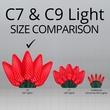 """25 C9 Red LED Christmas Lights, 8"""" Spacing"""