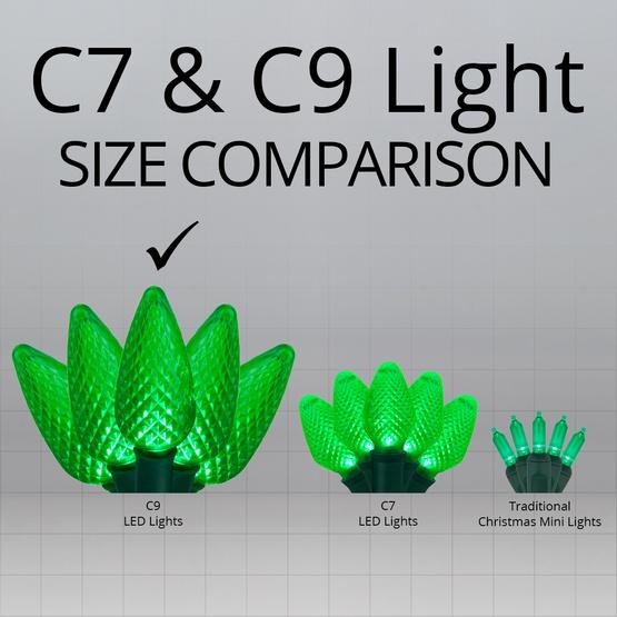 """25 C9 Green LED Christmas Lights, 8"""" Spacing"""