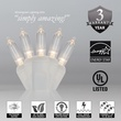 """50 T5 Warm White LED Christmas Tree Lights, 4"""" Spacing, White Wire"""