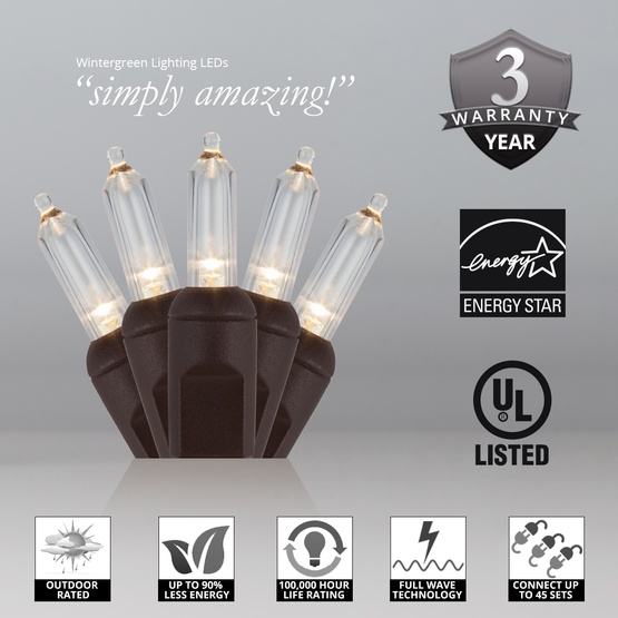 """50 T5 Warm White LED Christmas Tree Lights, 6"""" Spacing, Brown Wire"""