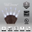 "50 T5 Cool White LED Christmas Tree Lights, 6"" Spacing, Brown Wire"
