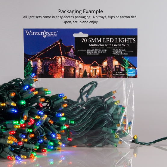 "70 5mm Multi Color LED Christmas Lights, 4"" Spacing, White Wire"