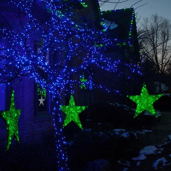 20 green metallic mesh star light green led lights