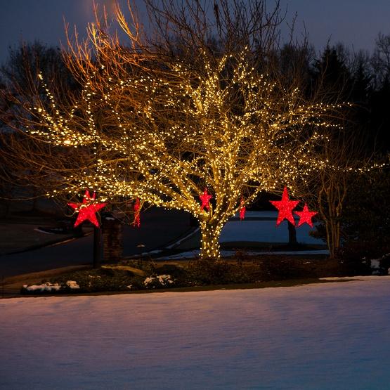 Snowflakes Amp Stars 36 Quot Red Metallic Mesh Star Light Red