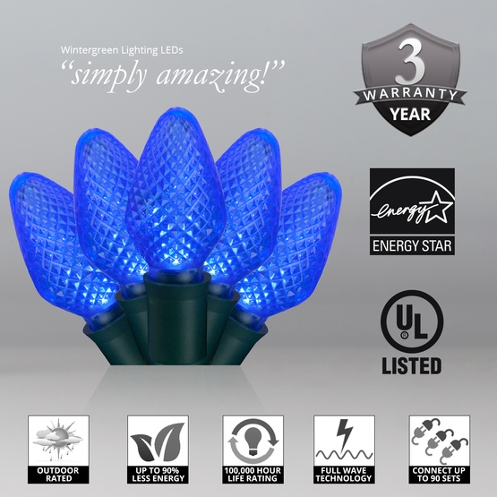 """Commercial 25 C7 Blue LED Christmas Lights, 6"""" Spacing"""