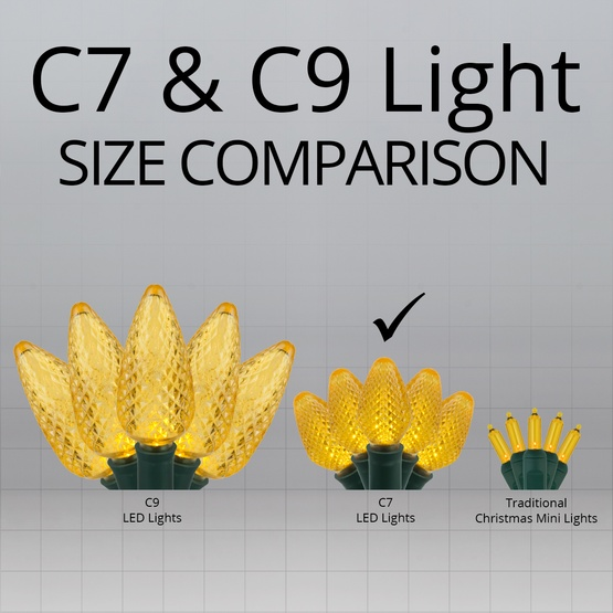 """Commercial 25 C7 Gold LED Christmas Lights, 12"""" Spacing"""