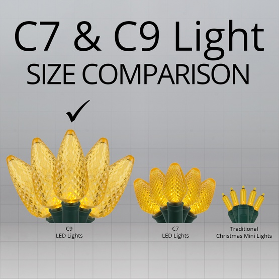 "Commercial 25 Gold C9 LED Christmas Lights, 12"" Spacing"