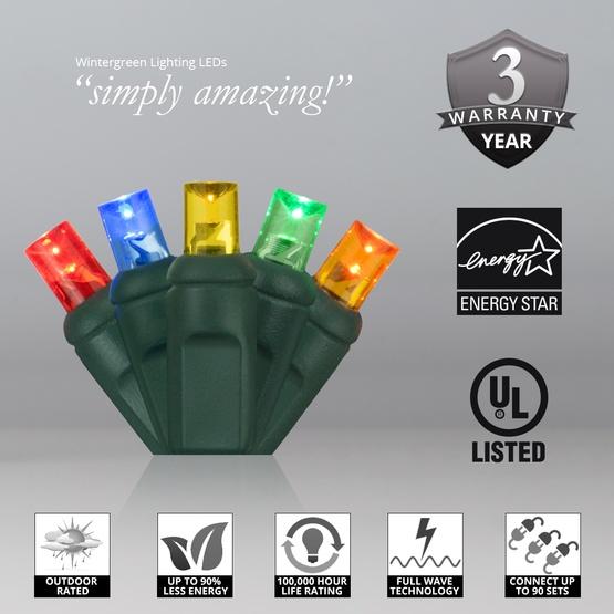 "50 5mm Multi Color LED Christmas Lights, 6"" Spacing"