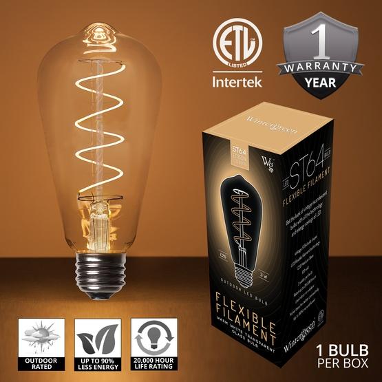 St64 Warm White Glass Flexfilament Tm Led Edison Bulb